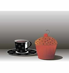 A Cup of coffee and muffin vector