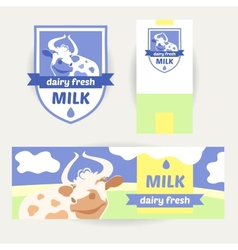 A set of promotional items for dairy products vector