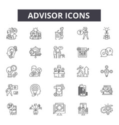 Advisor line icons editable stroke signs concept vector