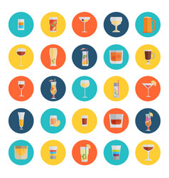 Alcohol drinks icon set flat style eps10 vector