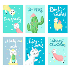 Alpaca christmas greeting cards templates vector