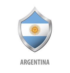 Argentina flag on metal shiny shield vector