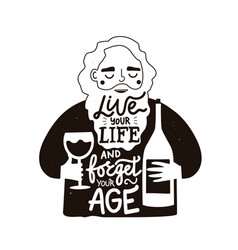 Black white with old bearded man wineglass vector