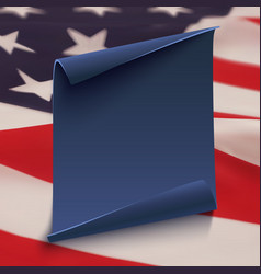 Blue paper banner on top of American flag vector image