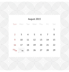Calendar page for August 2015 vector image