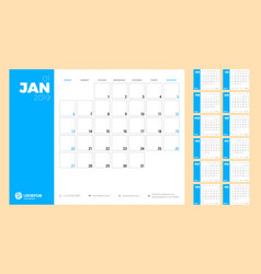 calendar planner for 2019 week starts on sunday vector image