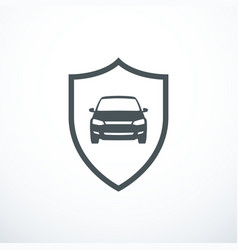 car and shield icon vector image