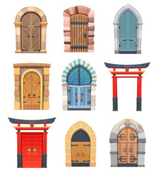 Cartoon gates and doors wooden and stone entries vector