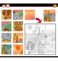 Cartoon safari animals jigsaw game vector