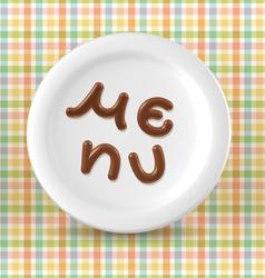Chocolate menu word on plate vector image