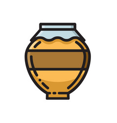 clay honey pot thin line flat style icon vector image