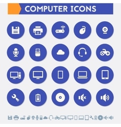 Computer icon set Material circle buttons vector image