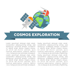 cosmos exploration informative poster with earth vector image