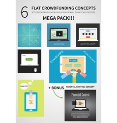 Crowdfunding concept set in flat design - vector