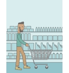 Customer with trolley vector image