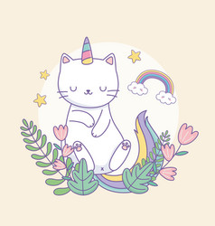 cute caticorn with floral decoration vector image