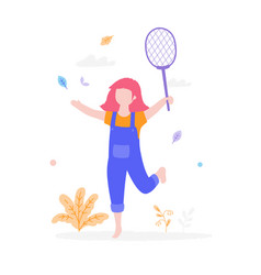 cute girl playing badminton outdoors in park vector image