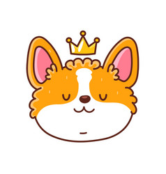 Cute happy corgi dog face with crown vector