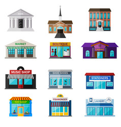 Different shops institutions and stores flat icon vector