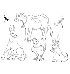 domestic animals outlined set a collection vector image