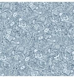 Doodles hand drawn school seamless pattern vector