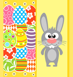 Easter background card with rabbit and eggs yellow vector