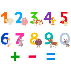 educational numbers set with farm animals vector image