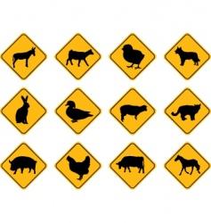 farm animals signs vector image
