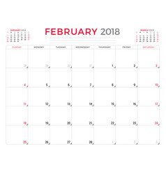 February 2018 calendar planner design template vector