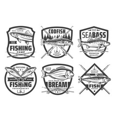 Fishing sport icons fisher lures and tackles vector