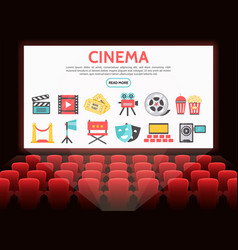 flat cinema elements set vector image