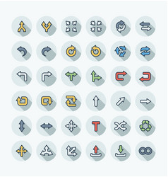 Flat color thin line icons set with arrows vector