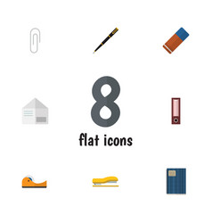Flat icon stationery set of duct nib pen letter vector