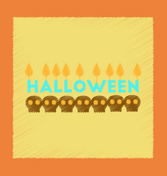 Flat shading style icon candle halloween vector