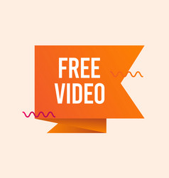 Free video text label template design vector