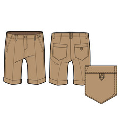 Front and back view of knee-length shorts vector
