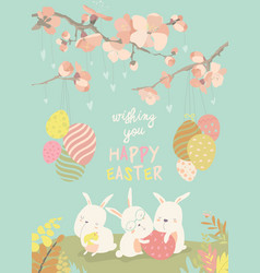 Funny easter bunnies with flowering branches vector