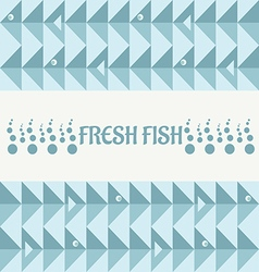 Geometry pattern with triangle fish and bubbles vector