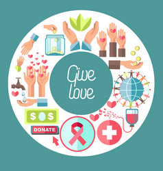 Give love charity fund and blood donation center vector