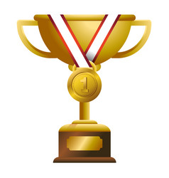 gold trophy with medal vector image