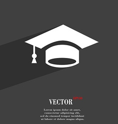 Graduation symbol flat modern web design with long vector