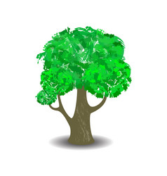 Green tree with brush textured crown vector