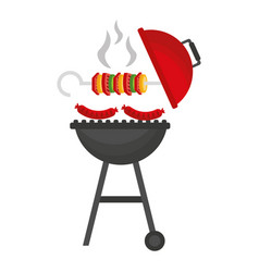 Grill barbecue skewer hot sausages vector