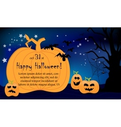 Halloween night card big pumpkins vector image