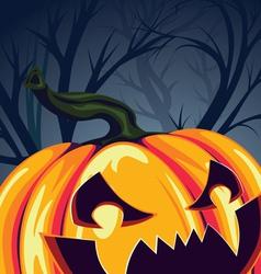 Halloween Pumpkin in the Forest vector