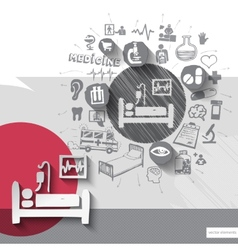 Hand drawn hospital bed icons with icons vector