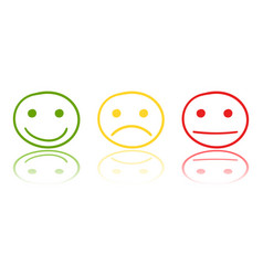 hand drawn smiley icon on mirror emotion face in vector image