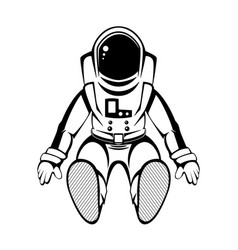 Hand drawn spaceman in black color isolated on vector