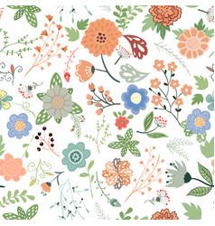 handdrown seamless floral pattern flower vector image