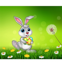 Happy little bunny holding Easter eggs on grass vector image